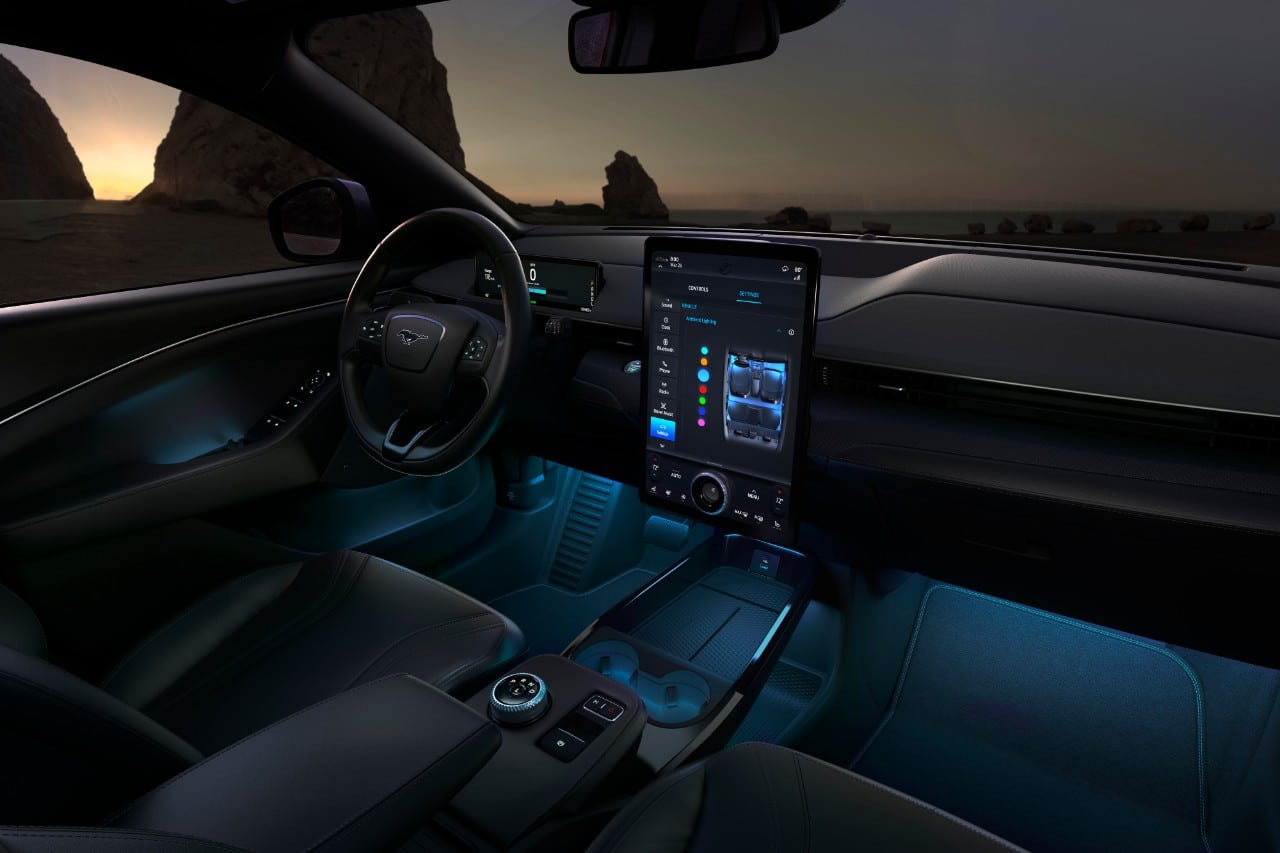 Interior of All Electric 2021 Mustang Mach E