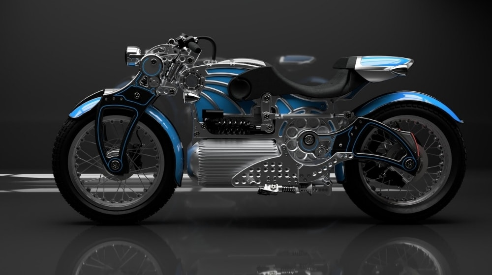 Blue Curtiss One Electric Motorcycle