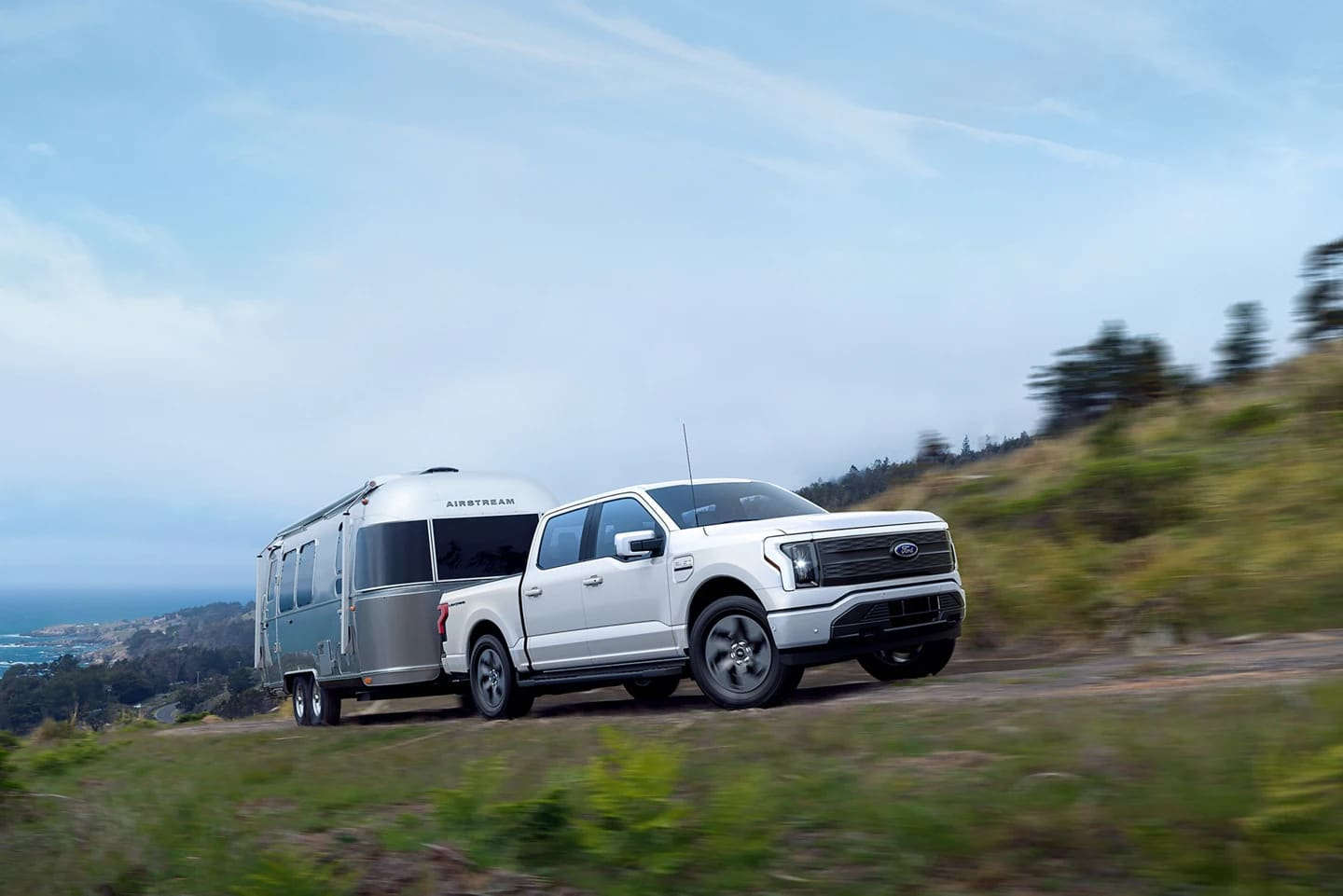 Ford F-150 Lightning Towing Airstream Trailer